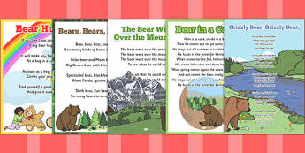 Bear-Themed Rhymes and Poems EYFS Resource Pack to Support Teaching on Bear Hunt - eyfs, pack