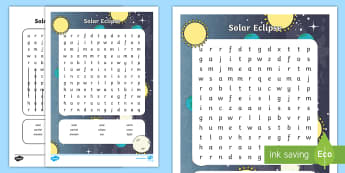 Solar Eclipse Word Search - sun, moon, science, great american eclipse, space,