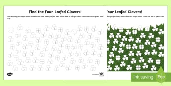 Find the Four-Leafed Clovers Activity Sheet - World Around Us KS2 - Northern Ireland, ST Patrick's day, ireland, irish, 17th March, fine motor sk