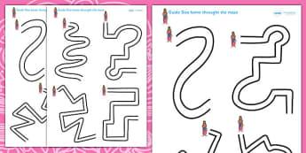 Diwali Pencil Control Maze Worksheets - diwali, pencil control, pencil control worksheets, fine motor skills, fine motor worksheets, diwali worksheets, pencil maze
