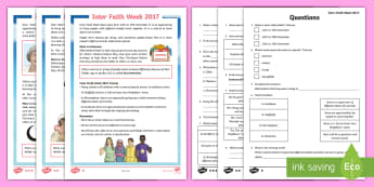 KS2 Inter Faith Week 2017 Differentiated Reading Comprehension Activity - Diversity, Faith, ks2 r.e, ks2 religious studies, our community, differences.