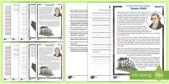 Scottish Scientist and Engineer James Watt Differentiated Reading Comprehension Activity - CfE, science week, STEM, Scot, Scottish, famous, watt, horsepower, people past events and societies,