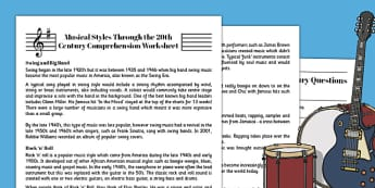 Musical Styles of the 20th Century Comprehension Worksheet - 20th