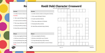 Roald Dahl Character Crossword