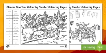 KS1 Chinese New Year Colour By Number Colouring Pages - festivals, celebrations, colouring, china, traditions