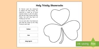 Holy Trinity Shamrock Activity Sheet - CfE Catholic Christianity, prayers, mass responses, holy trinity, ,worksheet