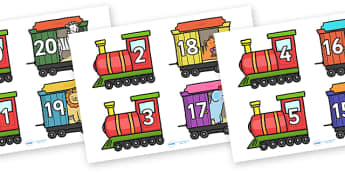 Number Bonds to 20 on Trains and Carriages - number bonds, numeracy, number bonds to 20, number bonds 0 to 20, trains and carriages, number bonds on trains, number bonds on carriages, number bonds on animals, animals, counting, addition, subtraction
