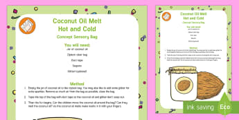 Coconut Oil Melt Hot and Cold Concept Sensory Bag - Early Concepts, melting, sensor play