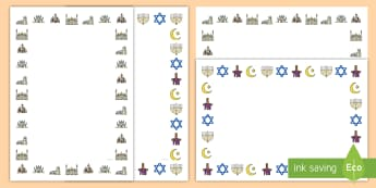 Inter Faith Week Page Border Pack - community, religion, RE, EYFS, KS1, KS2