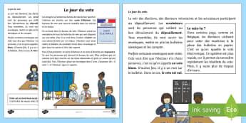 Fiche documentaire : Le jour du vote - élection présidentielle - élection, election, vote, bureau de vote, polling station, électeur, elector, délégués de class