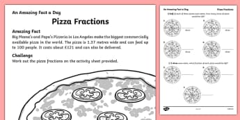 Pizza Fractions Activity Sheet, worksheet