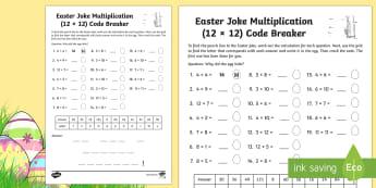 Easter Joke Multiplication (Up to 12 x 12) Code Breaker Worksheet / Activity Sheet - NI, Easter, joke, code, breaking, times tables, multiplication, quick  recall, numeracy,multplicatio