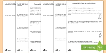 Two Step Math Word Problems Differentiated Activity Pack - differentiated, math, two-step, word problems