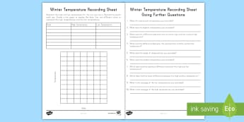 Winter Temperatures Recording Activity Sheet - worksheet, freezing, high temperature, low temperature, line chart, graphing, data,