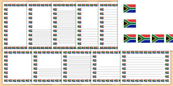 South Africa Flag Themed Page Border - south africa, flag, page border, arfican flag