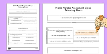 1999 Curriculum Junior Infants Maths Number Assessment Group Colouring Sheets - roi, irish, gaeilge, assessment checklist, maths, junior infants, number