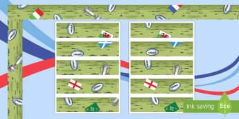 Rugby Six Nations Display Borders - KS1 & KS2 Rugby Six Nations  (4th February 2017), 6 nations, rugby