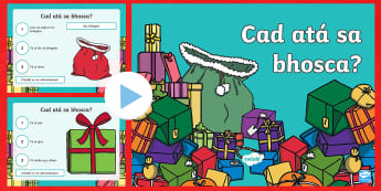 What Is in the Box? Christmas Game PowerPoint Gaeilge - cluiche, nollag, game, christmas, guessing game, gaeilge