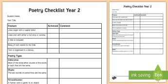 Year 2 Poetry Checklist - English curriculum, writing, creative writing, poetry, assessment