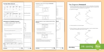 Probability Home Learning Activity Pack - Probability, Homework, Venn, Tree Diagram, Conditional, Independent, mutually exclusive