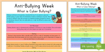 What is Cyber Bullying? Display Poster - Anti-bullying, cyber bully, sexting, poster