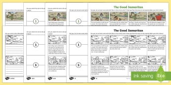 The Good Samaritan Differentiated Sequencing Activity Sheet - Resligious Studies, RE, Bible stories, bible, jesus, parables, cut and stick, story sequencing