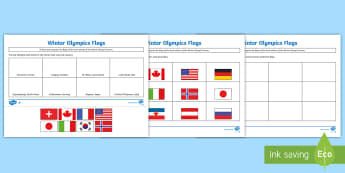 Winter Olympics Host Nation Flags Activity Sheet - Y3, Y4, Y5, Y6, map, atlas, worksheet, world, countries, cities,