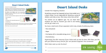 Desert Island Desks Activity Sheet - Home Education Thinking Skills, ice breaker, warm up, Introduction, INSET, PD, Higher Order thinking