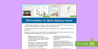 Differentiation for LKS2 Maths Mystery Adult Guidance - suggestions, ability groups, mixed abilities, LA MA HA, problem solving