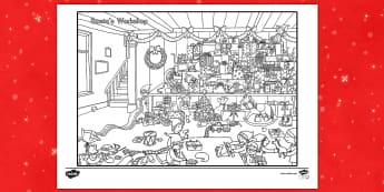 Crazy Christmas Coloring Challenge Worksheet / Activity Sheet - Christmas, color, coloring, activity, art, challenge worksheet