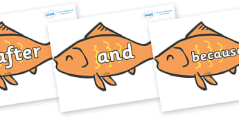 Connectives on Goldfish - Connectives, VCOP, connective resources, connectives display words, connective displays