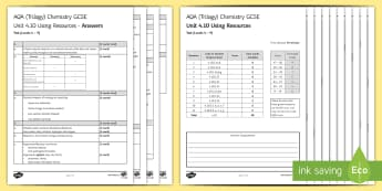 AQA Chemistry (Trilogy) Unit 4.10 Using Resources Test - KS4 Assessment, Test, potable water, resources, environment, recycling, reusing, landfill, greenhouse