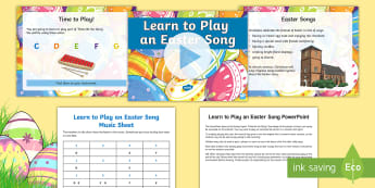 Play an Easter Song PowerPoint - thine be the glory, judas maccabaeus, Handel, see the conqu'ring hero comes, chime bars, glockenspi