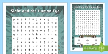 Sight and the Human Eye Keywords Word Search - skim, scan, vocabulary, topic words, science, body systems, senses,