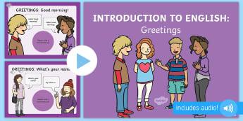 Χαιρετισμοί παρουσίαση με ήχο στα αγγλικά - συνομιλία, συνομιλίες, φράση, φράσεις,χαιρετισμοί, χαι