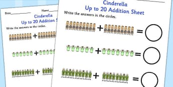Cinderella Up to 20 Addition Sheet - cinderella, addition, 20