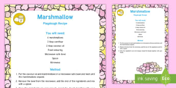 Marshmallow Playdough Recipe - marshmallow, playdough, recipe, activity