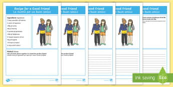 Recipe for a Good Friend Differentiated Activity Sheets English/Italian - rules, friendship, behaviour, class, classroom, EAL , italian, italiano, writing
