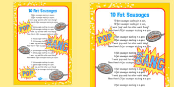 10 Fat Sausages Rhyme Sheet - 10, fat, sausages, rhyme, sheet