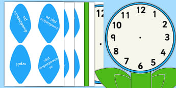 Zegar analogowy liczby pisane słownie Kwiat - zegar, analogowy, słownie, kwiat, kwiatek, łodyga, listki, liście, płatki, czas, podawanie, czas