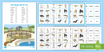 Zoo Bingo - animals, games, oral language