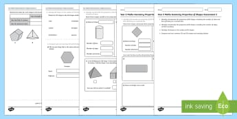 Year 2 Maths Geometry Properties of Shapes Assessment 2  - year 2, shapes, 2d shapes, 3d shapes, assessment, test, geometry, shape, properties,tracking, progre