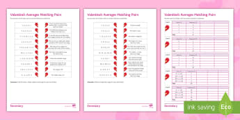 Valentine's Averages Matching Pairs Differentiated Activity Sheets - Maths, averages, Valentine, Matching, Mean, median, mode, range, frequency, worksheet, cumulative, g