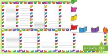 Blurb Book Border Template - writing, literacy, border, book, frames, blurb,