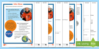 KS1 John Glenn Differentiated Reading Comprehension Activity - Space Week, World, Information, Non-fiction, Astronaut, Space