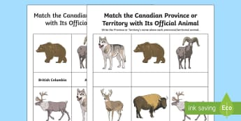Match the Canadian Province or Territory with Its Official Animal Activity  - Canada\'s 150th Birthday, science and technology, Canada, Animals, Canada Day, Grade 4, grade 5, g