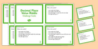 Decimal Place Value Riddle Challenge Cards - Decimal, Place Value, Riddle, Digits, tenths, hundredths