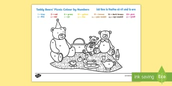 Teddy Bears Picnic Colour by Numbers Worksheet / Activity Sheet English/Hindi - Teddy Bears' Picnic Colour By Numbers - teddy, colour, game, count, numbes, colourby numbers, coloy
