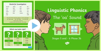 Northern Ireland Linguistic Phonics Stage 5 and 6 Phase 3b, 'oa' sound PowerPoint