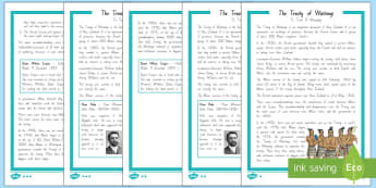 The Treaty of Waitangi Differentiated Comprehension Go Respond Worksheet / Activity Sheets - Waitangi Day, Treaty of Waitangi